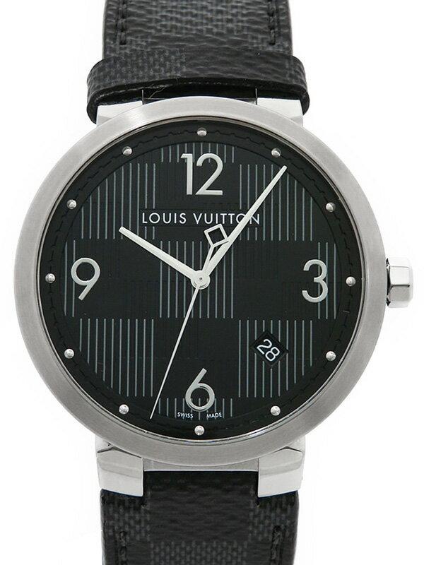 【LOUIS VUITTON】【電池交換済】ルイヴィトン『タンブール ダミエ ブラック』Q1D070 メンズ クォーツ 3ヶ月保証【中古】
