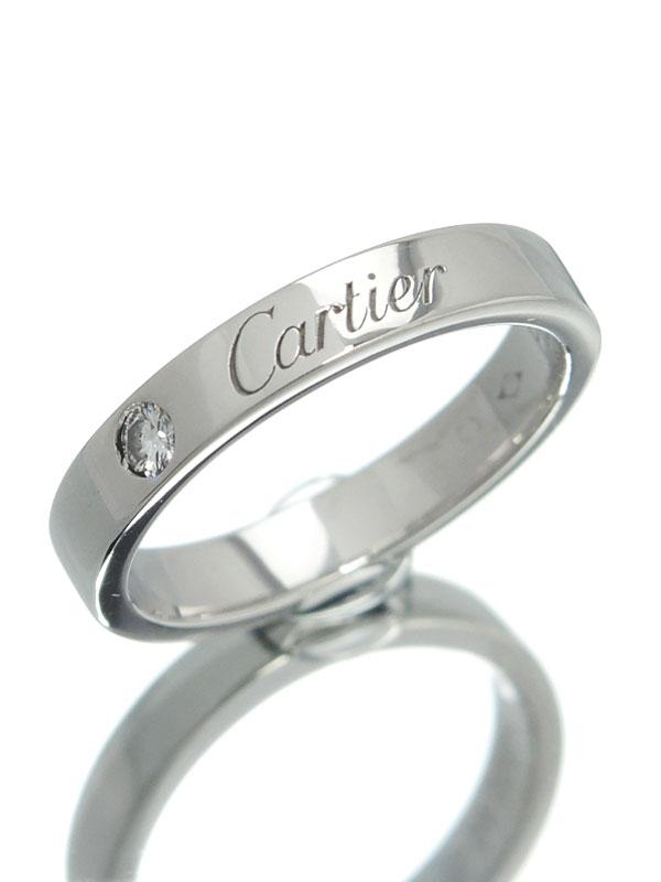 【Cartier】【仕上済】カルティエ『エングレーブド リング 1Pダイヤ』6号 1週間保証【中古】