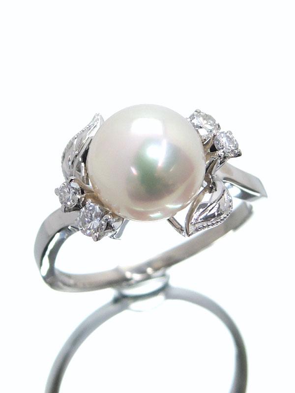 【TASAKI】【仕上済】タサキ『PT900リング パール8.2mm ダイヤモンド』9号 1週間保証【中古】