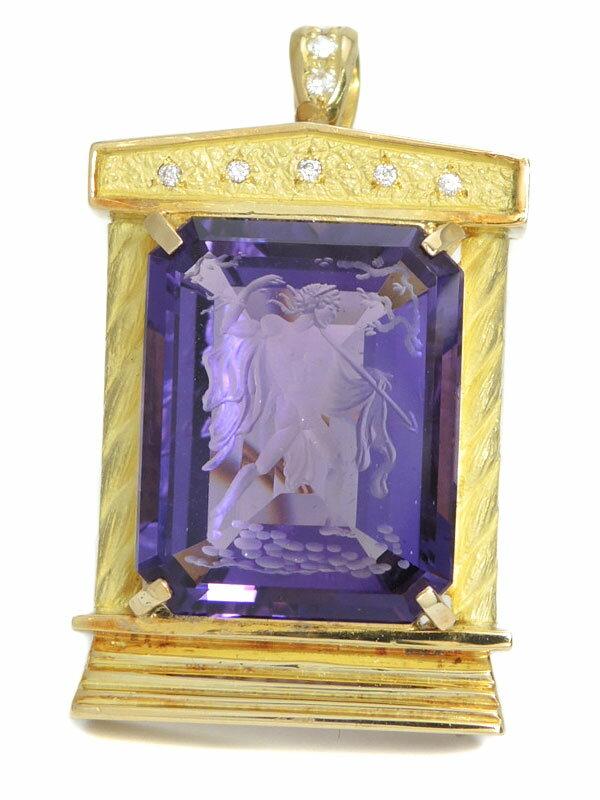 【2Way】セレクトジュエリー『K18YGペンダントトップ/ブローチ アメジスト ダイヤモンド0.11ct』1週間保証【中古】