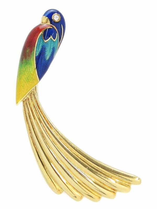 【鳥】セレクトジュエリー『K18YGブローチ ダイヤモンド トリモチーフ』1週間保証【中古】