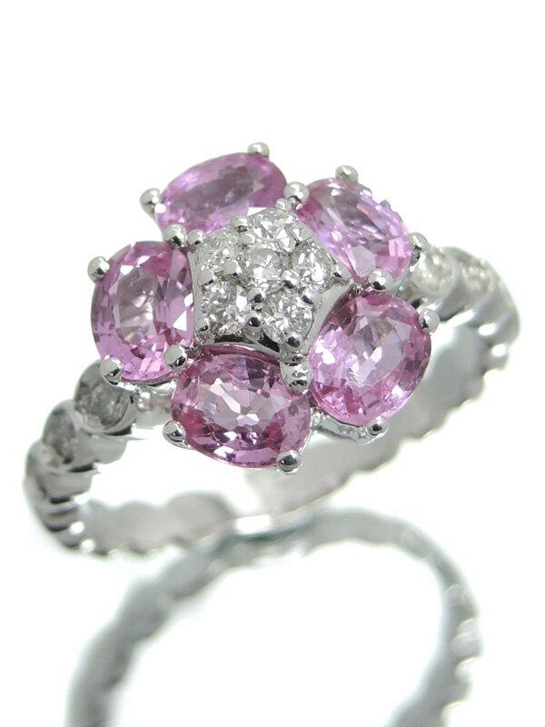 【仕上済】セレクトジュエリー『K18WGリング ピンクサファイア1.971ct ダイヤモンド フラワーモチーフ』12号 1週間保証【中古】