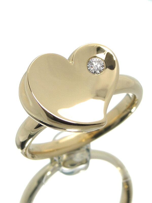 【MIKIMOTO】【仕上済】ミキモト『K18YGリング 1Pダイヤモンド0.04ct ハートモチーフ』13号 1週間保証【中古】