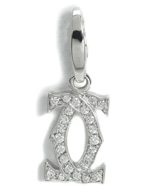 【Cartier】【仕上済】カルティエ『K18WGチャーム 2Cモチーフ ダイヤモンド』ペンダントトップ 1週間保証【中古】