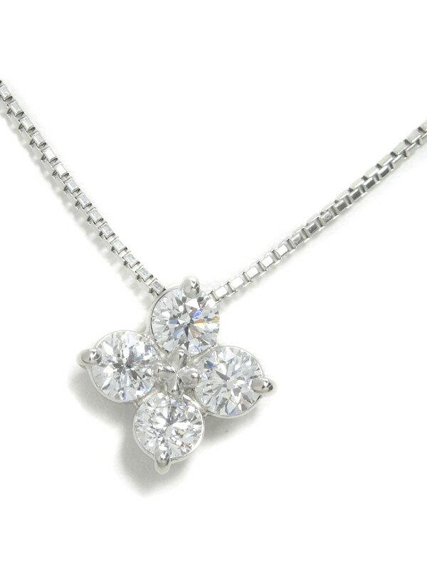 【TASAKI】【チェーン社外品】タサキ『PT900/PT850ネックレス ダイヤモンド1.03ct フラワーモチーフ』1週間保証【中古】