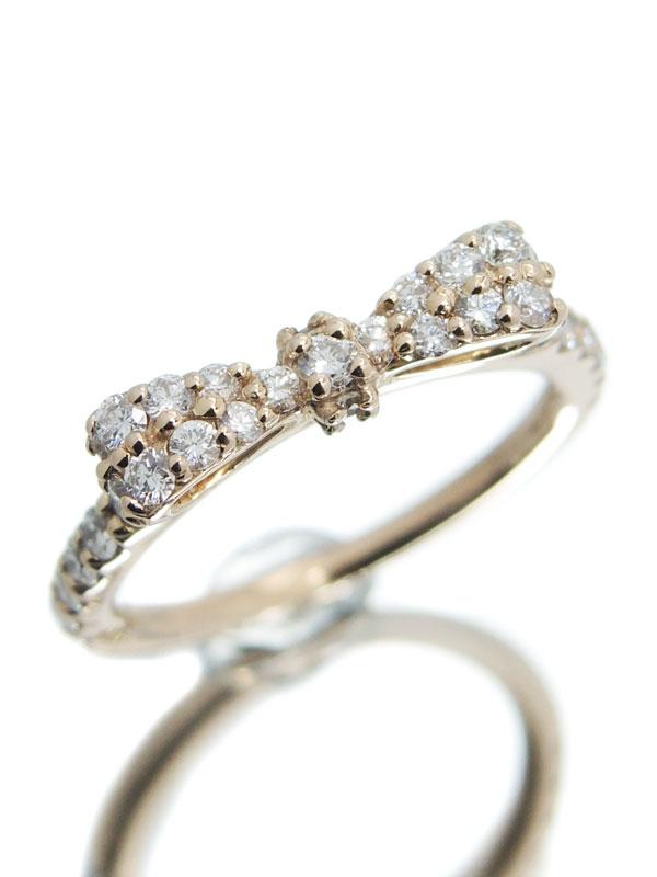 【Ponte Vecchio】【ピンキーリング】ポンテヴェキオ『K18PGリング ダイヤモンド0.35ct リボンモチーフ』1号 1週間保証【中古】
