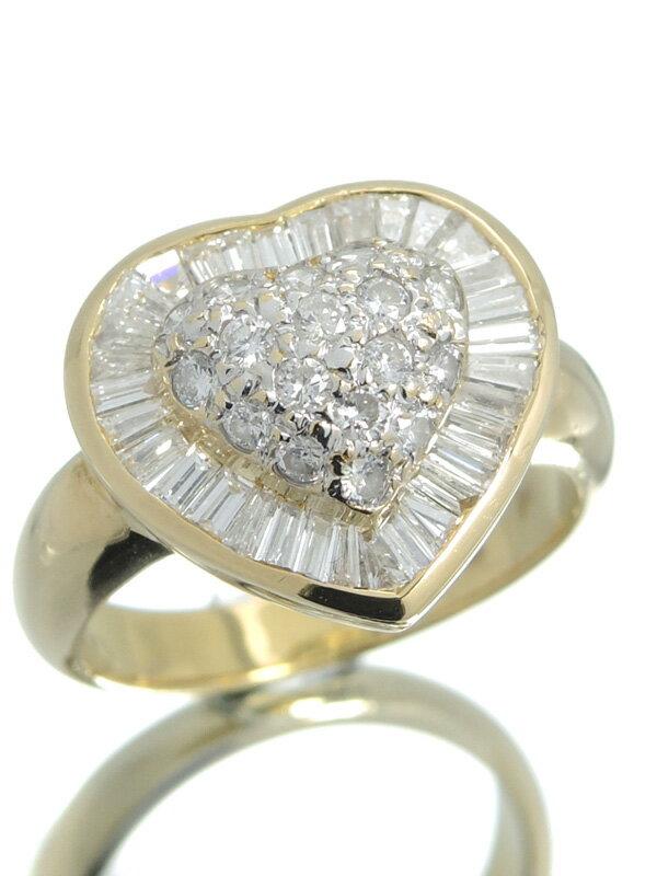 【Ponte Vecchio】ポンテヴェキオ『K18YG/K18WGリング ダイヤモンド1.11ct ハートモチーフ』12号 1週間保証【中古】