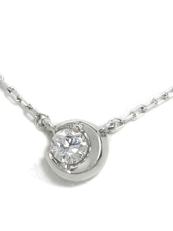 【Star Jewelry】【MOON SETTING DIAMOND】スタージュエリー『PT950ネックレス ムーンセッティングダイヤ0.04ct』1週間保証【中古】