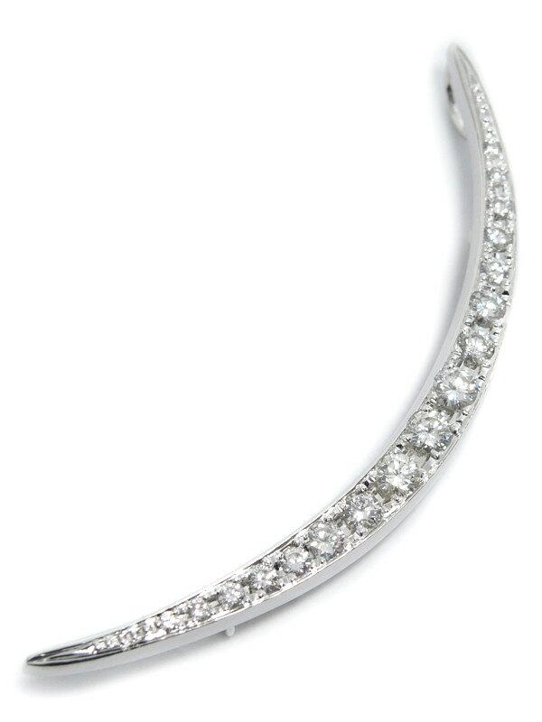【仕上済】セレクトジュエリー『K18WG/K14WGブローチ ダイヤモンド1.00ct 三日月モチーフ』1週間保証【中古】