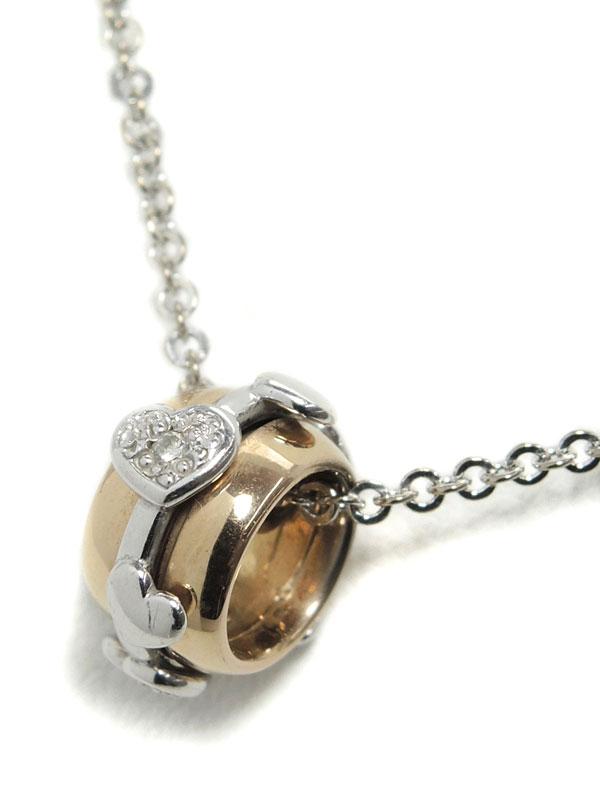 【Star Jewelry】【ハートデザイン】スタージュエリー『K18WG/K18PGネックレス ダイヤモンド0.02ct ループモチーフ』1週間保証【中古】
