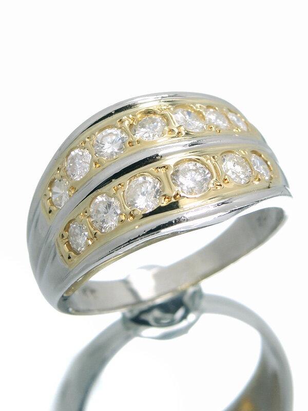 セレクトジュエリー『PT850/K18YGリング ダイヤモンド1.04ct』17号 1週間保証【中古】