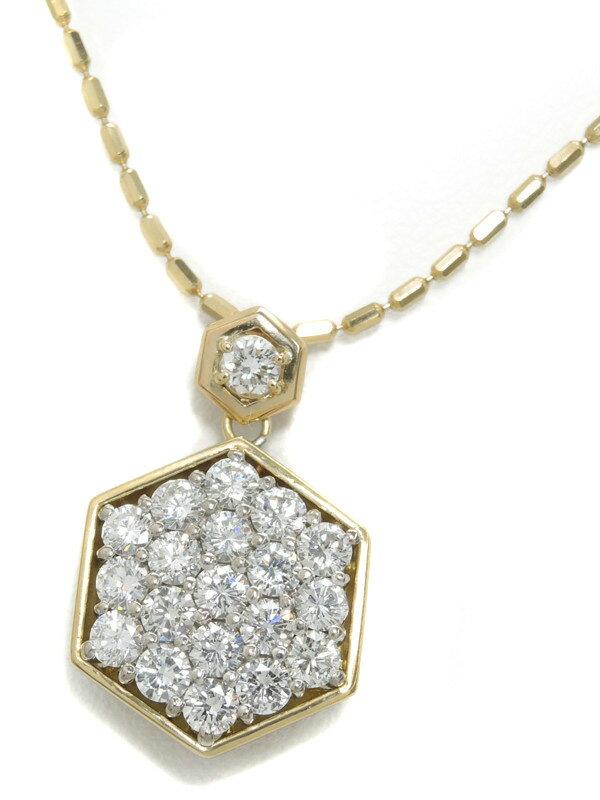 セレクトジュエリー『K18YGネックレス ダイヤモンド1.75ct 0.12ct 六角形モチーフ』1週間保証【中古】