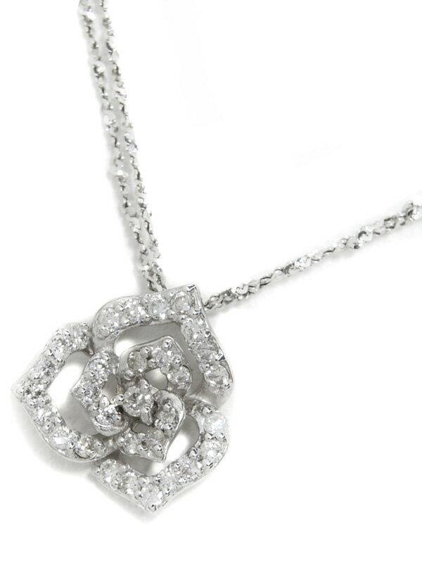 【2連チェーン】セレクトジュエリー『K18WGネックレス ダイヤモンド0.28ct フラワーモチーフ』1週間保証【中古】