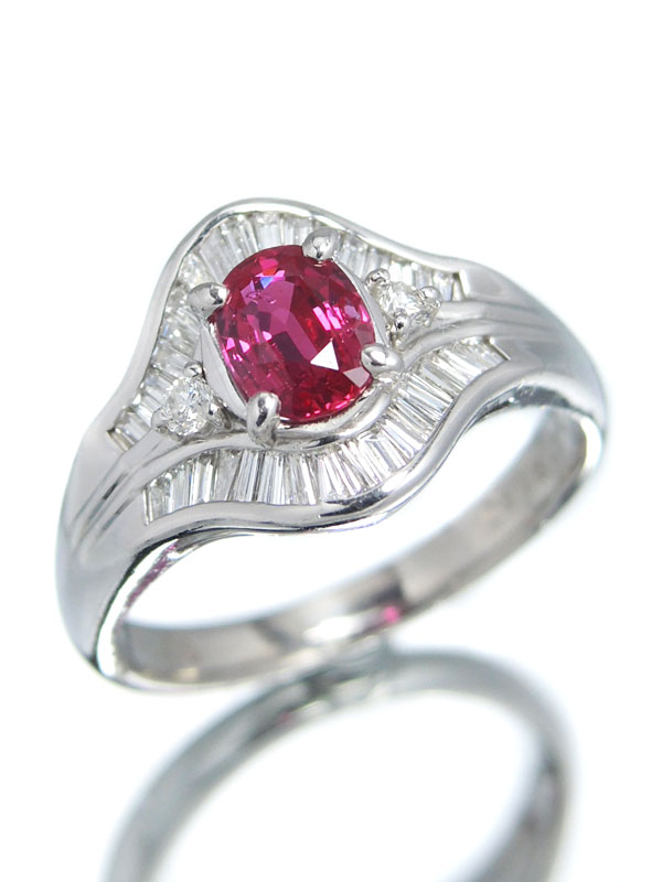 セレクトジュエリー『PT900リング ルビー0.80ct ダイヤモンド0.41ct』14号 1週間保証【中古】