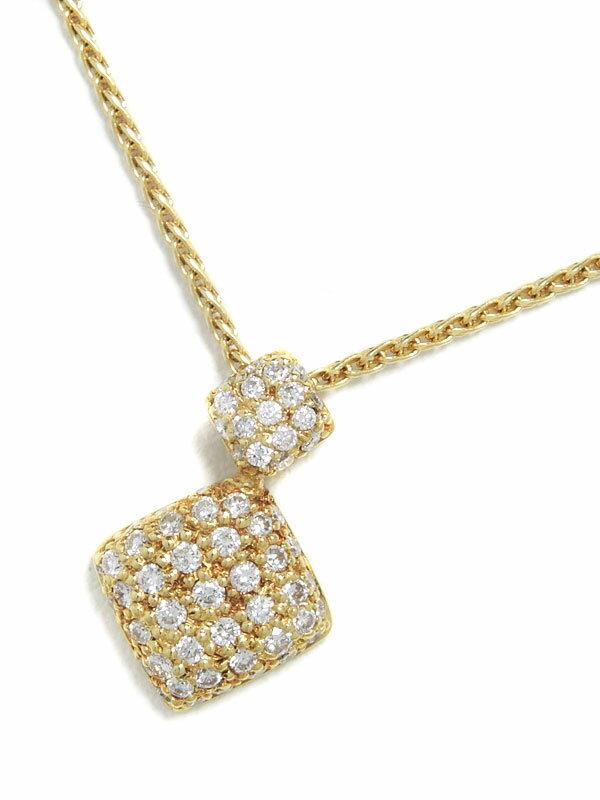 【パヴェダイヤ】セレクトジュエリー『K18YGネックレス ダイヤモンド0.45ct ひし形モチーフ』1週間保証【中古】
