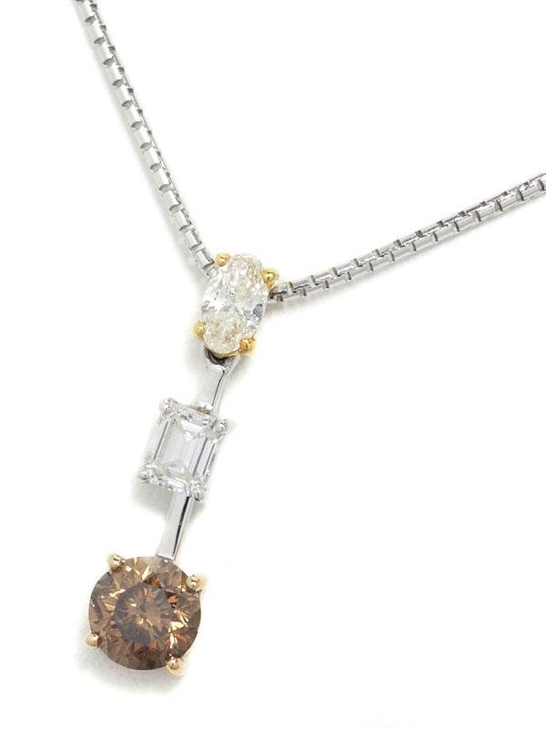 セレクトジュエリー『K18WG/K18YGネックレス ダイヤモンド1.10ct スウィングモチーフ』1週間保証【中古】