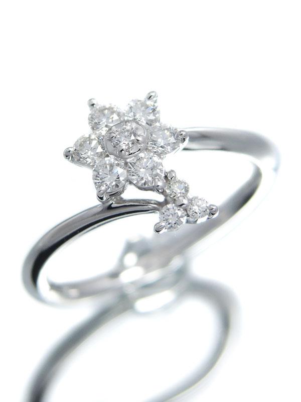 【仕上済】セレクトジュエリー『K18WGリング ダイヤモンド0.20ct フラワーモチーフ』5号 1週間保証【中古】