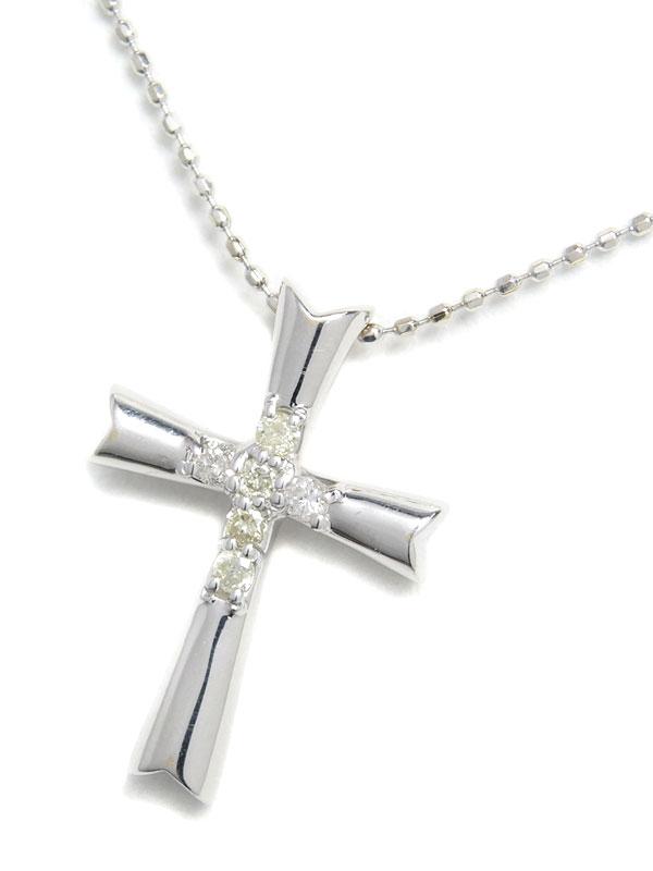セレクトジュエリー『K18WGネックレス ダイヤモンド0.10ct クロスモチーフ』1週間保証【中古】