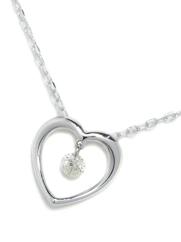 セレクトジュエリー『K18WGネックレス ダイヤモンド0.06ct ハートモチーフ』1週間保証【中古】