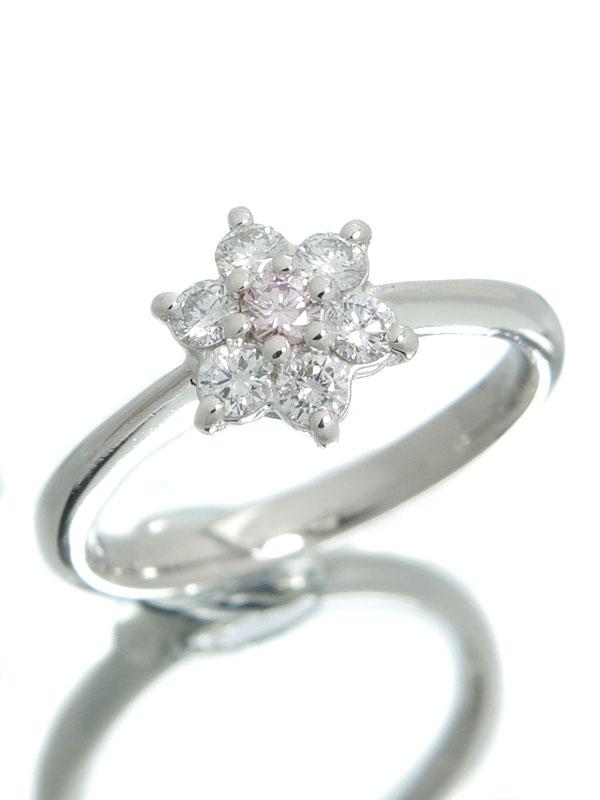 【仕上済】セレクトジュエリー『PT900リング ダイヤモンド0.07ct 0.33ct フラワーモチーフ』12号 1週間保証【中古】