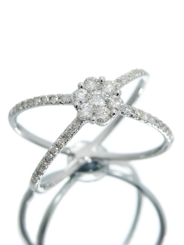 【仕上済】セレクトジュエリー『K18WGリング ダイヤモンド0.50ct フラワーモチーフ』14号 1週間保証【中古】