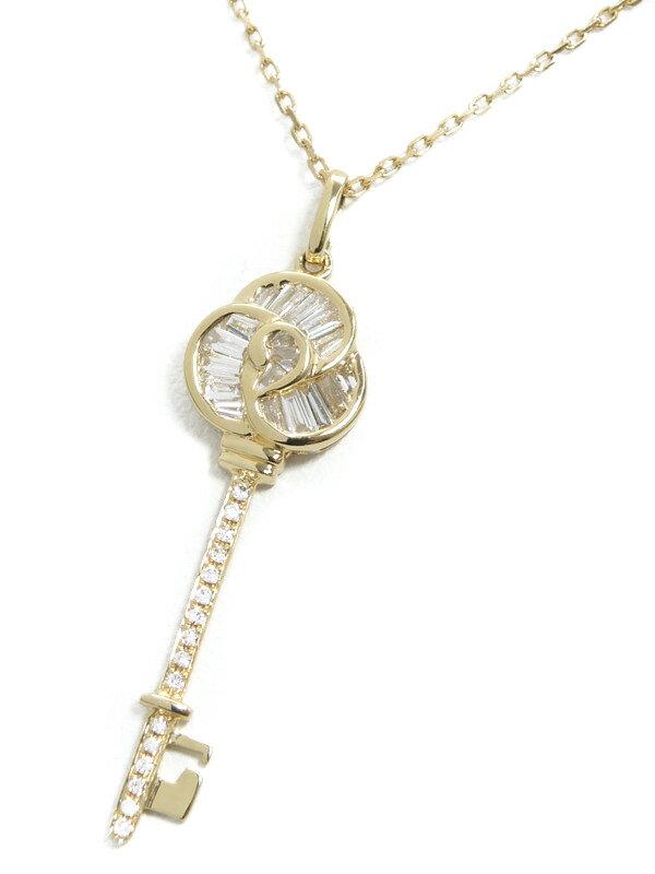 【鍵】セレクトジュエリー『K18YGネックレス ダイヤモンド0.30ct キーモチーフ』1週間保証【中古】