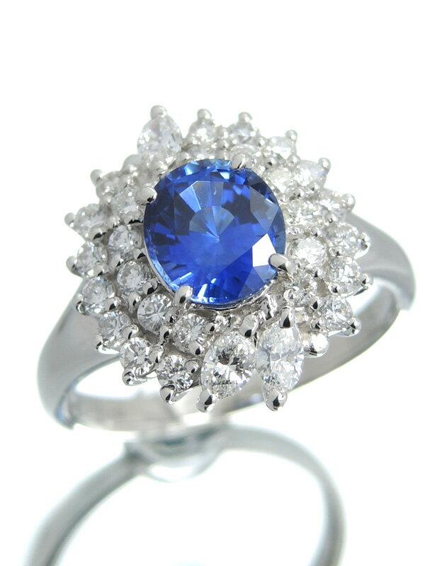セレクトジュエリー『PT900リング サファイア1.419ct ダイヤモンド0.68ct』12号 1週間保証【中古】