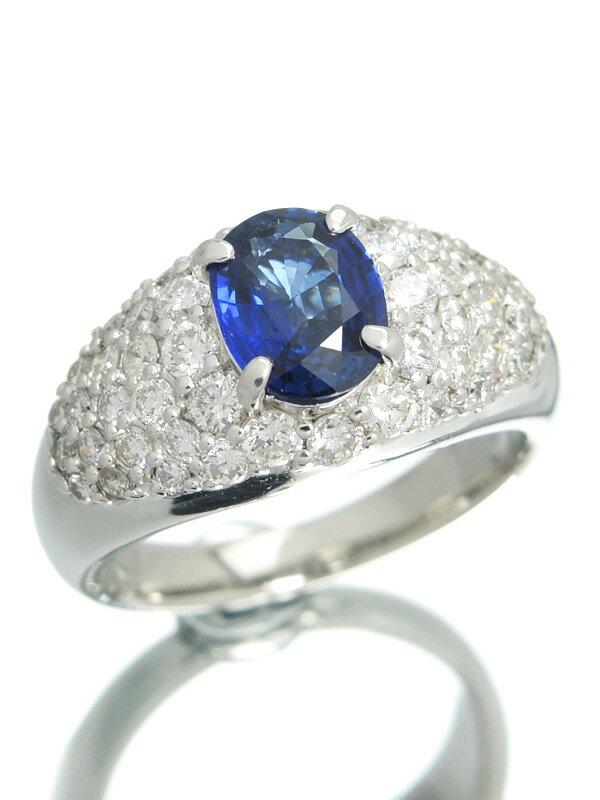 【ソーティング】セレクトジュエリー『PT900リング サファイア1.090ct ダイヤモンド1.31ct』12号 1週間保証【中古】