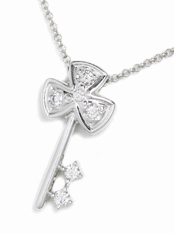 【TASAKI】タサキ『K18WGネックレス ダイヤモンド0.08ct クローバーキーモチーフ』1週間保証【中古】