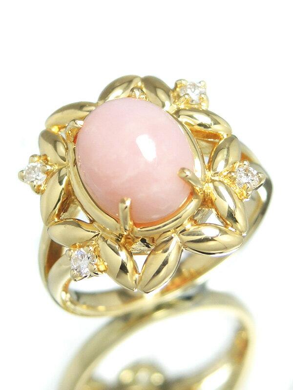 【ソーティング】セレクトジュエリー『K18YGリング ピンクオパール ダイヤモンド0.10ct』11号 1週間保証【中古】