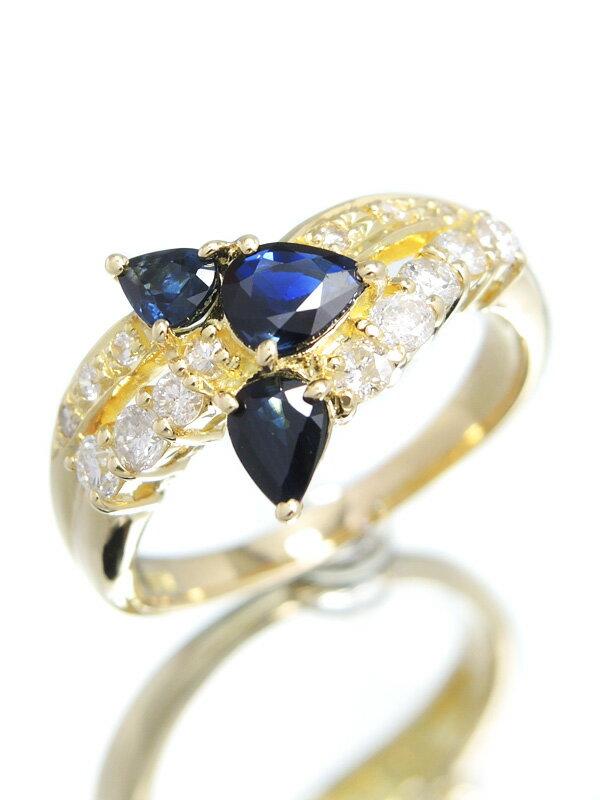 【仕上済】セレクトジュエリー『K18YGリング サファイア0.86ct ダイヤモンド0.38ct』12号 1週間保証【中古】