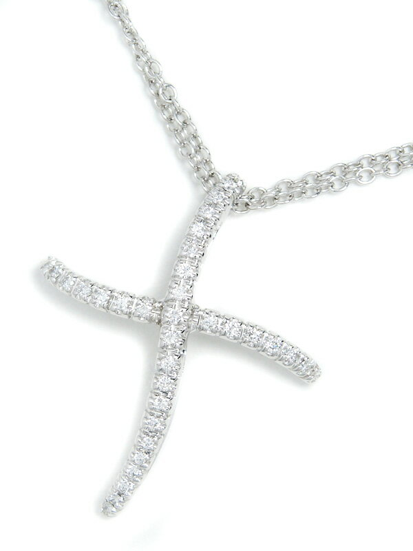 【DAMIANI】【2連チェーン】ダミアーニ『K18WGネックレス ダイヤモンド クロスモチーフ』1週間保証【中古】