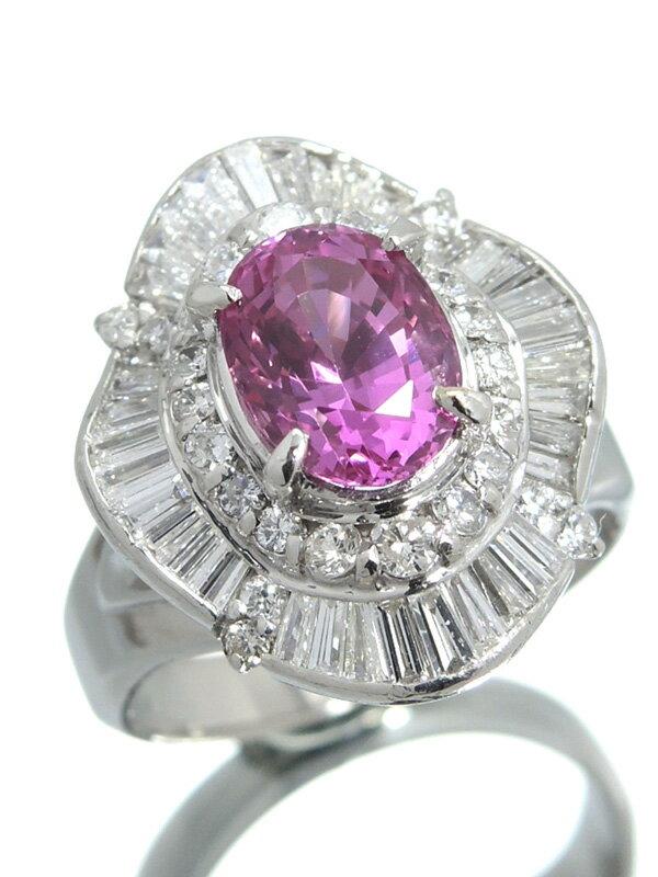 【ソーティング】セレクトジュエリー『PT900リング ピンクサファイア2.50ct ダイヤモンド1.16ct』12号 1週間保証【中古】