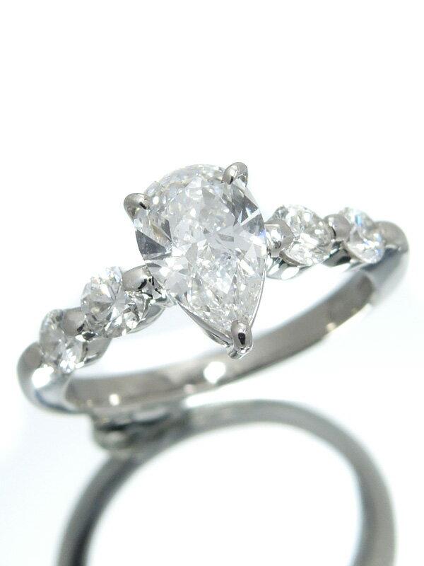 【ソーティング】【仕上済】セレクトジュエリー『PT900リング ダイヤモンド1.004ct/F/SI-2 0.52ct』11号 1週間保証【中古】