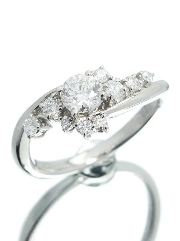 【ソーティング】【仕上済】セレクトジュエリー『PT900リング ダイヤモンド0.375ct/G/SI-2/EXCELLENT 0.225ct』11号 1週間保証【中古】