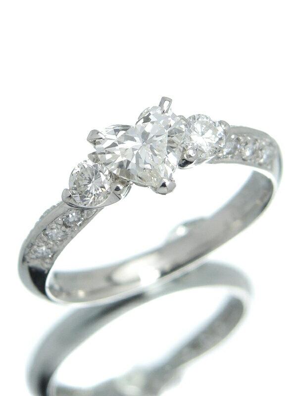 【ソーティング】【仕上済】セレクトジュエリー『PT900リング ダイヤモンド0.550ct/I/SI-2 0.39ct ハートモチーフ』12号 1週間保証【中古】