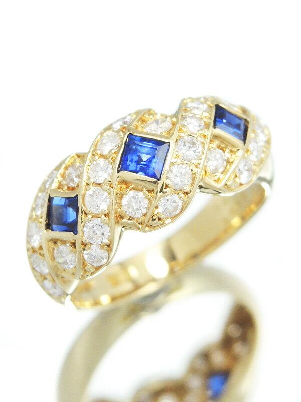 【仕上済】セレクトジュエリー『K18YGリング サファイア0.64ct ダイヤモンド0.80ct』13号 1週間保証【中古】