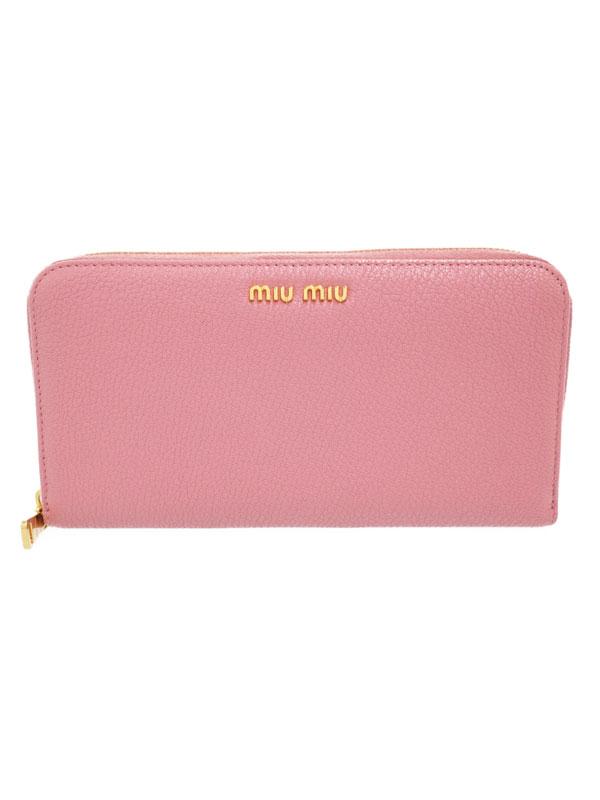 【MIU MIU】ミュウミュウ『ラウンドファスナー長財布』5ML506 レディース 1週間保証【中古】