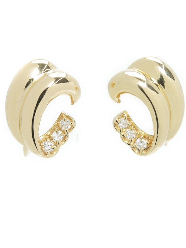 【POLA】【ネジ式】ポーラ『K18YGイヤリング ダイヤモンド0.14ct』1週間保証【中古】
