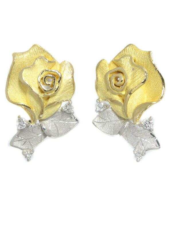 【田村俊一】【Shun】【クリップ式】【薔薇】タムラシュンイチ『K18YG/PT900イヤリング ダイヤモンド0.10ct 0.10ct ローズモチーフ』1週間保証【中古】