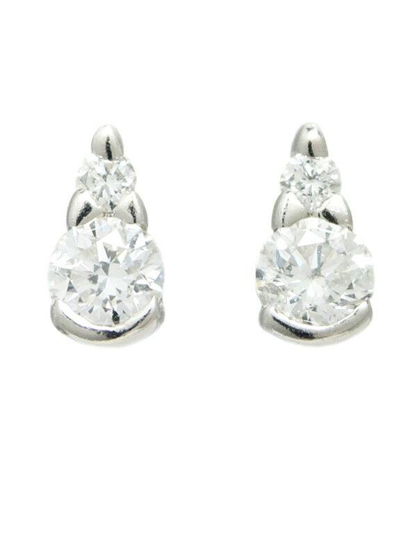 【Star Jewelry】【スタッドピアス】スタージュエリー『PT950ピアス ダイヤモンド0.09ct 0.09ct ドロップモチーフ』1週間保証【中古】