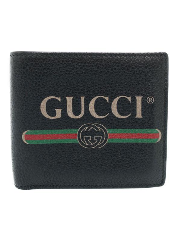 【GUCCI】グッチ『グッチ プリント 二つ折り短財布』496316 メンズ 1週間保証【中古】