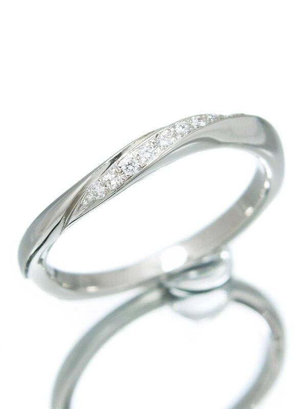 【4℃】【仕上済】【ウェーブライン】ヨンドシー『PT950リング 9Pダイヤモンド』7号 1週間保証【中古】