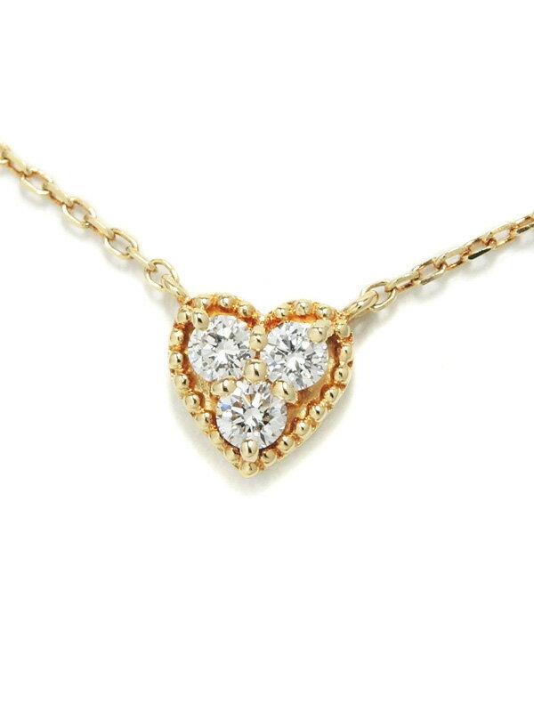 【Vendome Aoyama】ヴァンドーム青山『K18YGネックレス 3Pダイヤモンド0.12ct ハートモチーフ』1週間保証【中古】