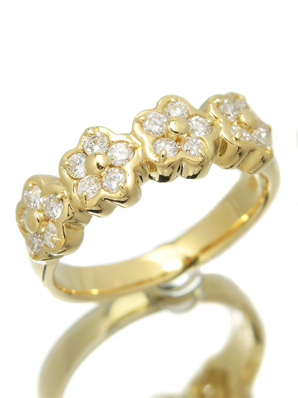 【Ponte Vecchio】ポンテヴェキオ『K18YGリング ダイヤモンド0.45ct フラワーモチーフ』10号 1週間保証【中古】