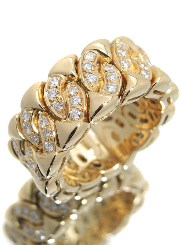 【BVLGARI】【仕上済】ブルガリ『K18YGリング ダイヤモンド』13号 1週間保証【中古】