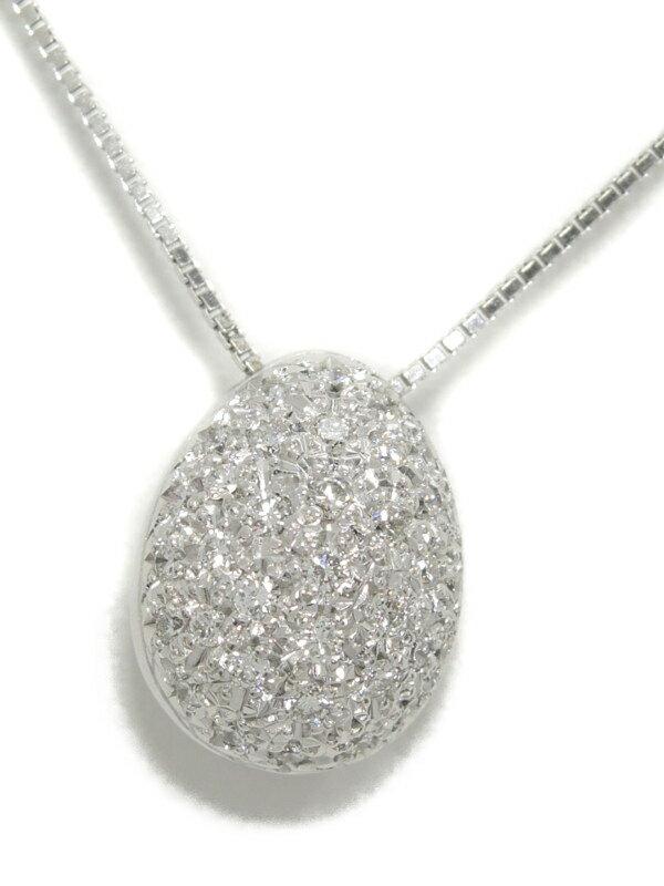 【TASAKI】【卵型】【パヴェダイヤ】タサキ『K18WGネックレス ダイヤモンド0.37ct』1週間保証【中古】