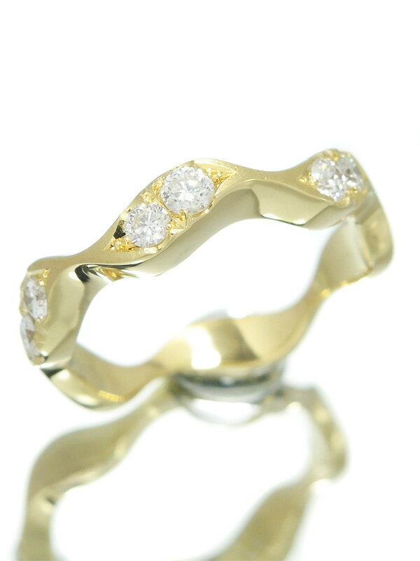 【木内賢治】【仕上済】キウチケンジ『K18YGリング 6Pダイヤモンド0.34ct』12号 1週間保証【中古】