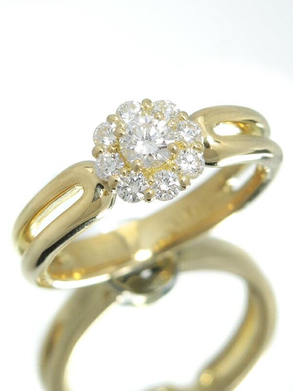 【星の砂】【仕上済】ホシノスナ『K18YGリング ダイヤモンド0.40ct フラワーモチーフ』9.5号 1週間保証【中古】