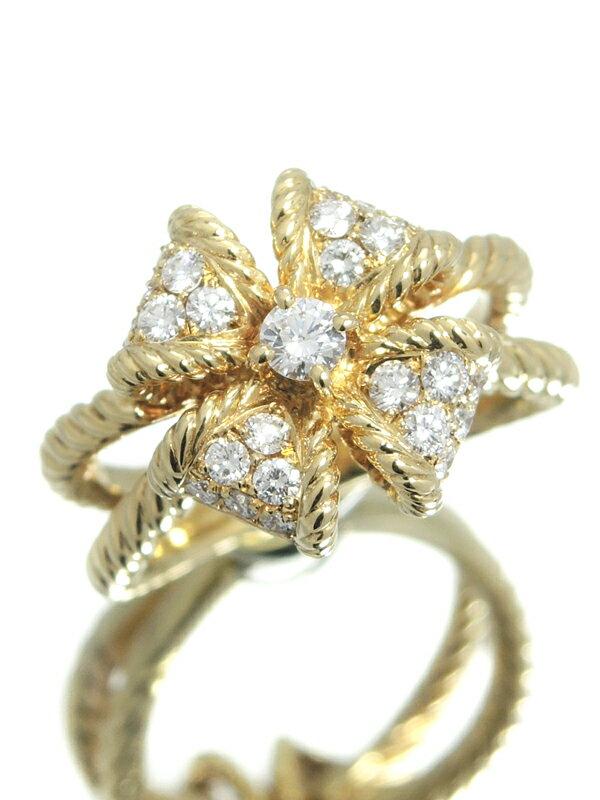 【星の砂】【仕上済】ホシノスナ『K18YGリング ダイヤモンド0.43ct フラワーモチーフ』11号 1週間保証【中古】